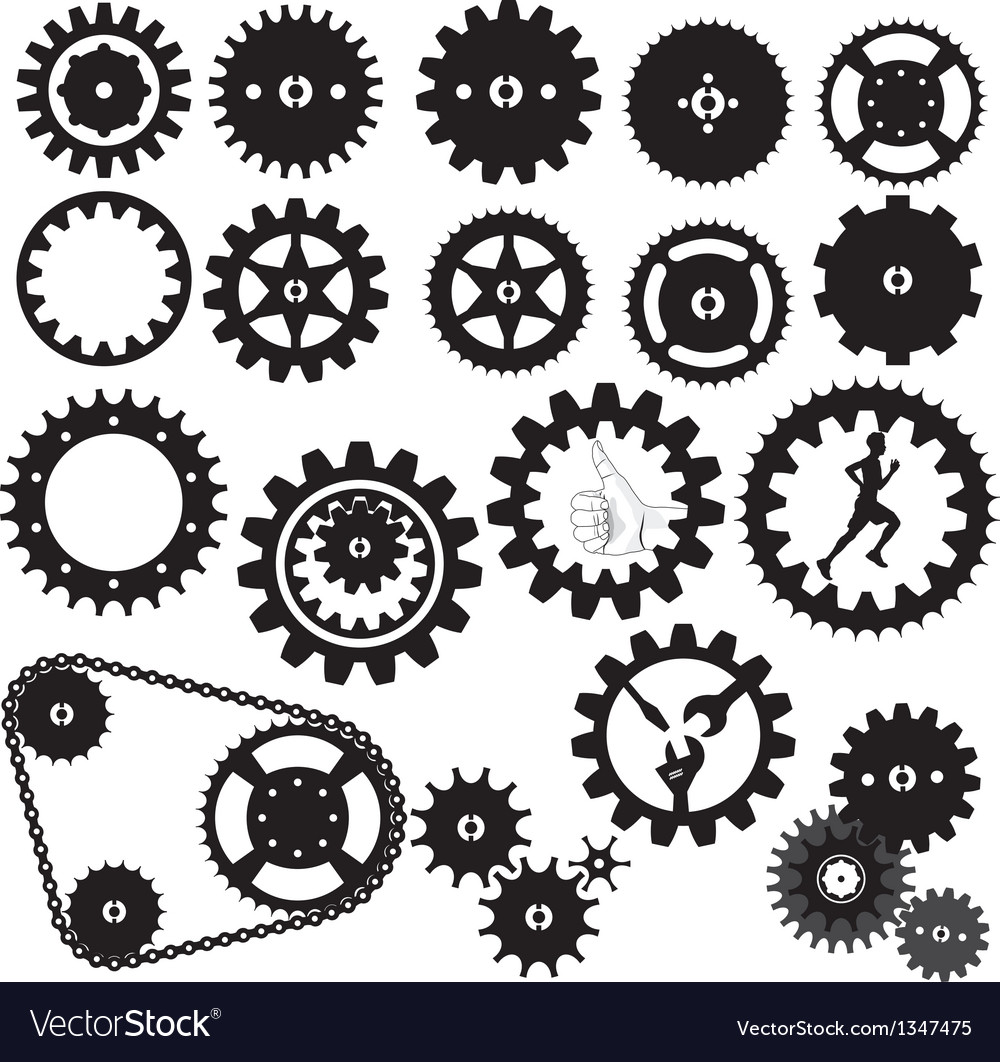 Gears silhouette vector | Price: 1 Credit (USD $1)