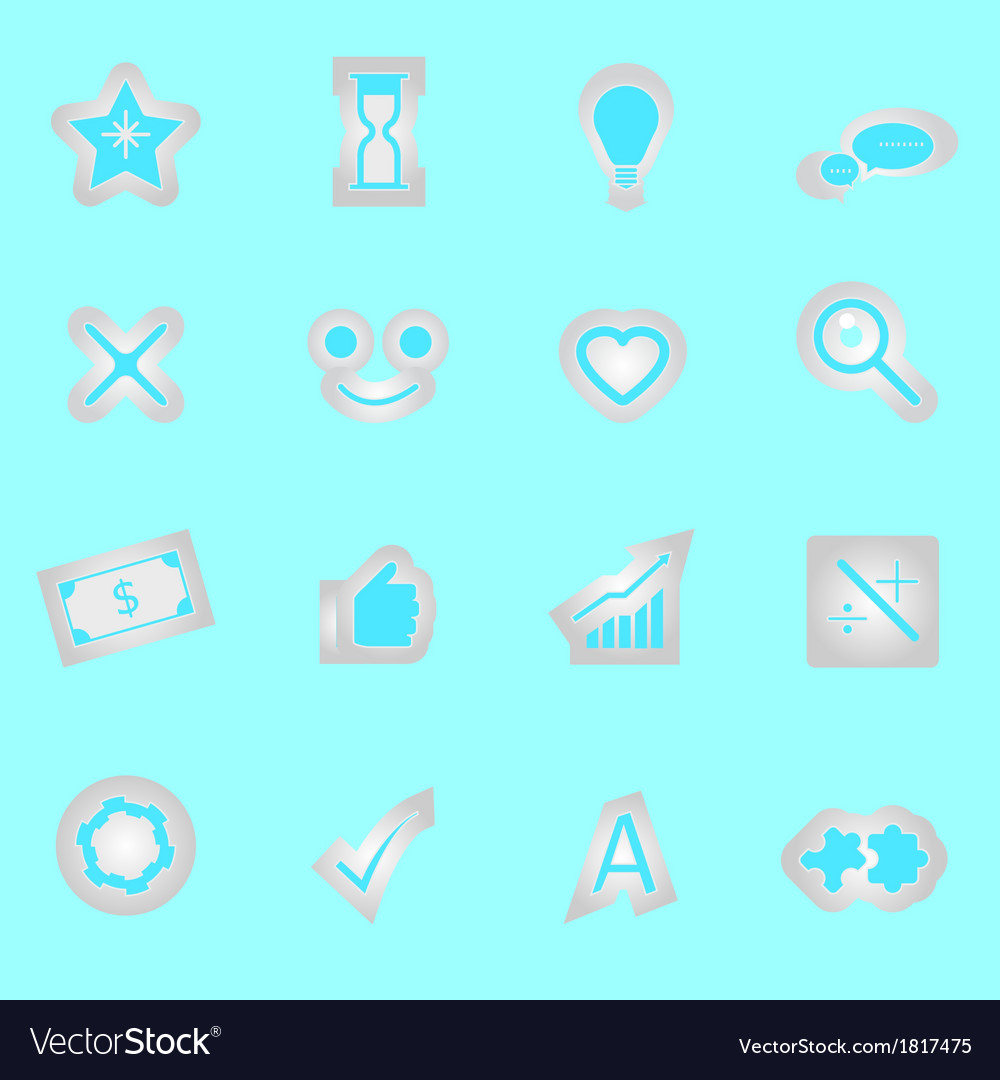Idea symbol icons sticker on blue background vector | Price: 1 Credit (USD $1)