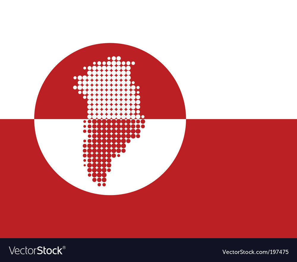 Map and flag of greenland vector | Price: 1 Credit (USD $1)