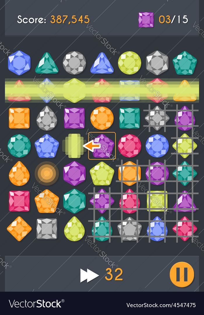 Match3 gems puzzle game screen vector | Price: 1 Credit (USD $1)