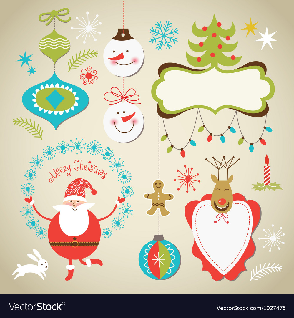Set of christmas and new year elements vector | Price: 3 Credit (USD $3)