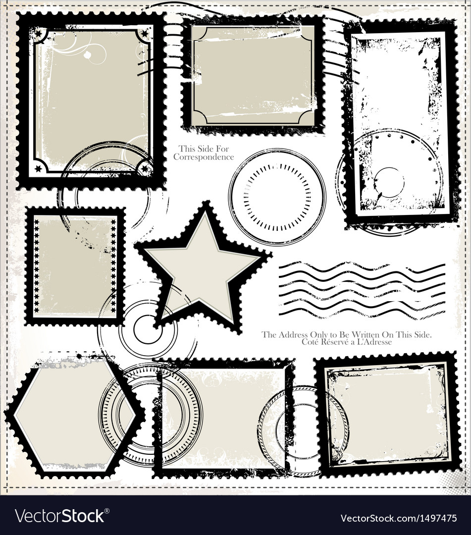 Set of post stamp symbols vector | Price: 1 Credit (USD $1)