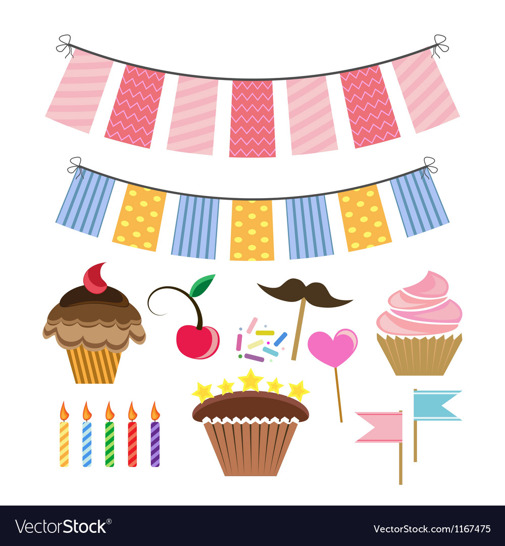 Set with icons for celebration vector | Price: 1 Credit (USD $1)