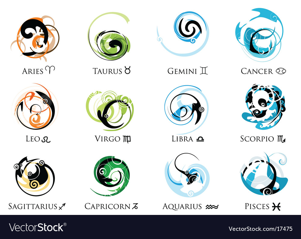 Star sign zodiac symbol set vector | Price: 3 Credit (USD $3)
