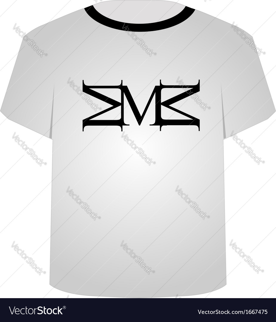 T shirt template- capital letter m vector | Price: 1 Credit (USD $1)