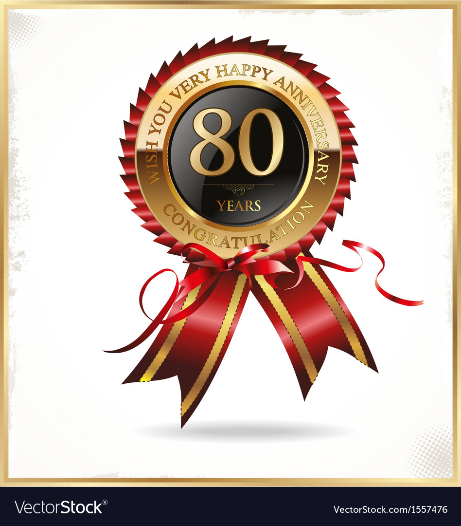 80 years anniversary label vector | Price: 1 Credit (USD $1)