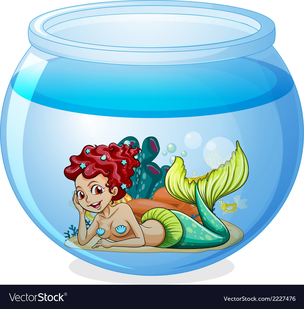 An aquarium with a mermaid vector | Price: 1 Credit (USD $1)