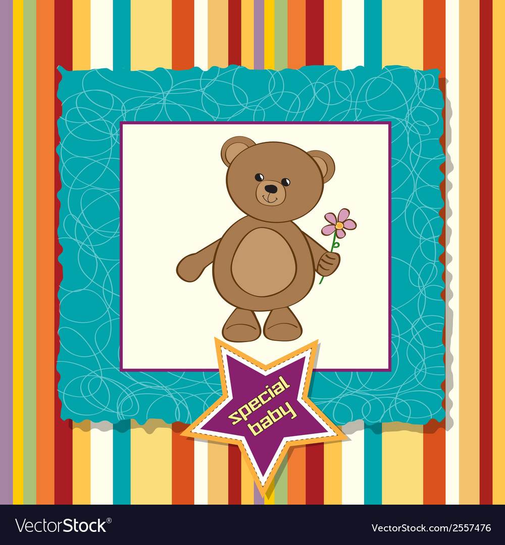 Baby announcement card with teddy bear and flower vector | Price: 1 Credit (USD $1)