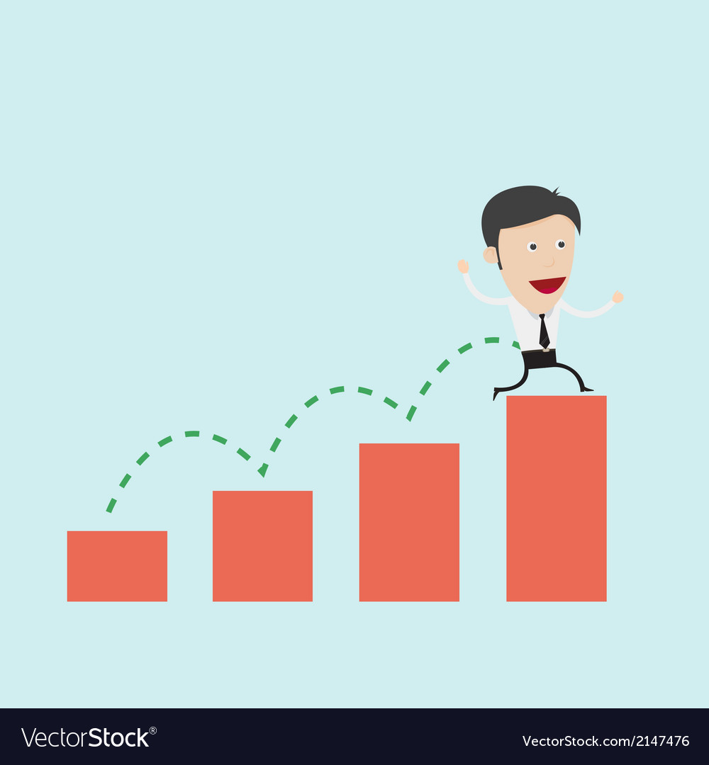 Businessman jump over graph vector | Price: 1 Credit (USD $1)