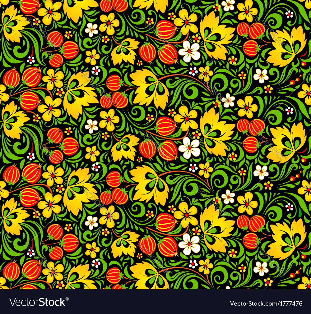 Colorful seamless pattern in hohloma style vector | Price: 1 Credit (USD $1)