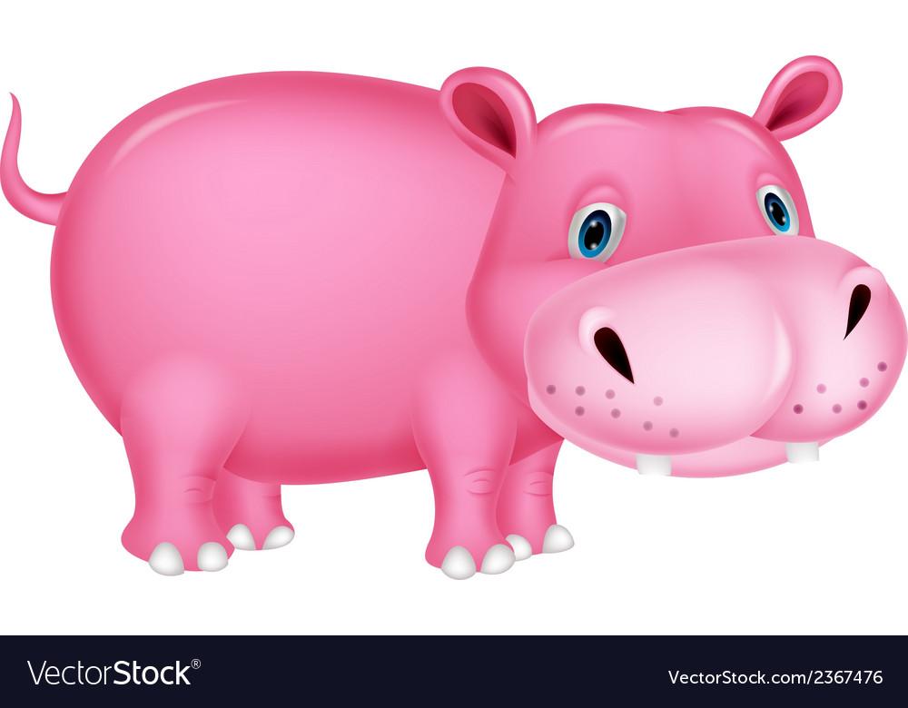 Cute hippo cartoon vector | Price: 1 Credit (USD $1)