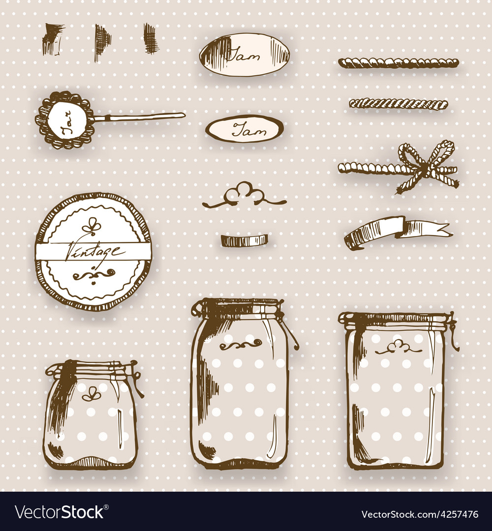 Hande drawing pots and labels vector | Price: 1 Credit (USD $1)