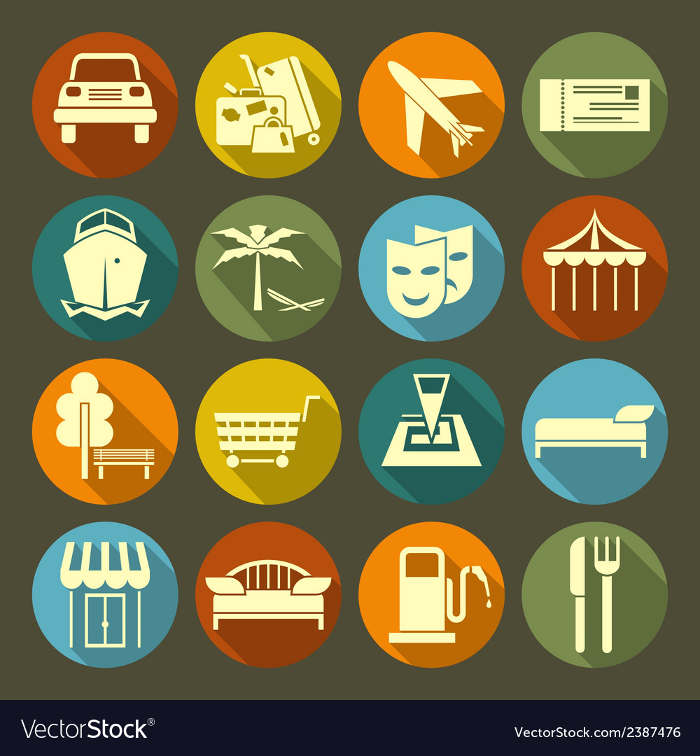 Icons vacation and travel on the color plate vector | Price: 1 Credit (USD $1)