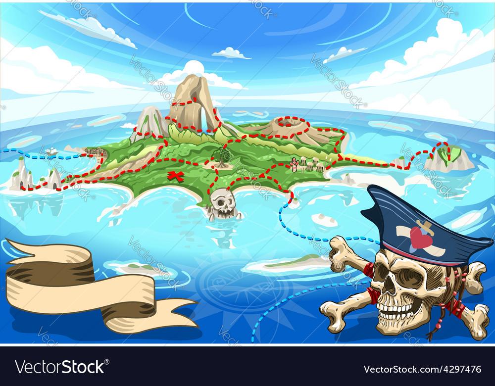 Pirate cove island - treasure map vector | Price: 5 Credit (USD $5)