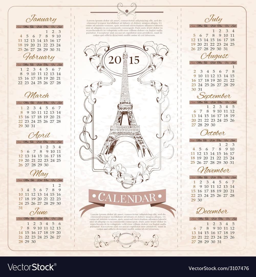 Retro calendar for 2015 vector | Price: 1 Credit (USD $1)