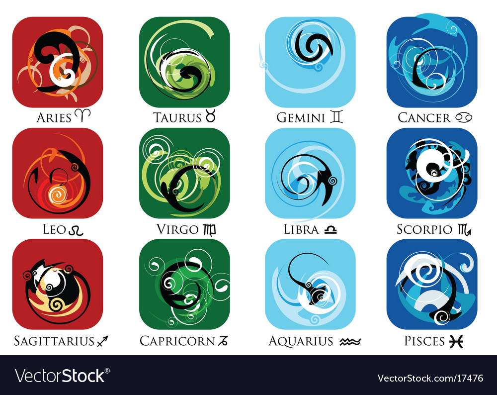 Star sign zodiac symbol set vector