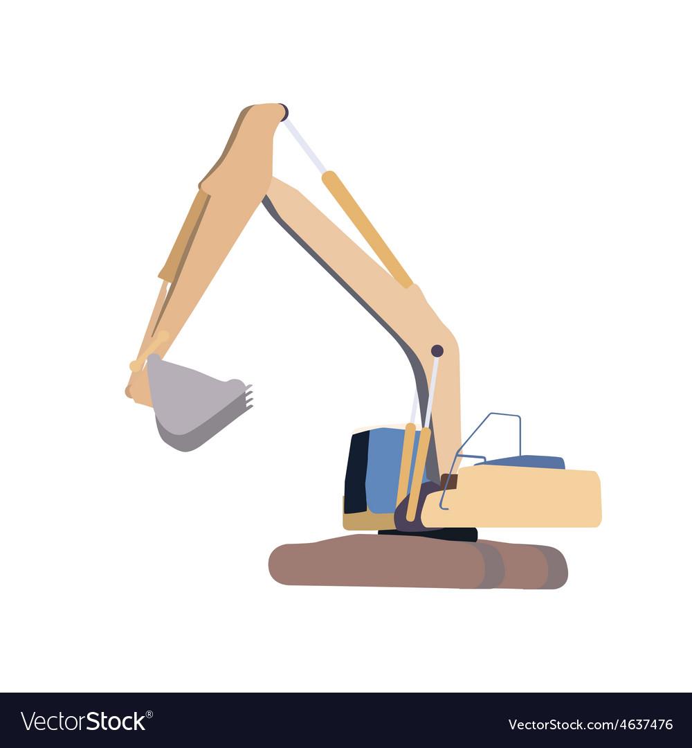 Working excavator isolated vector | Price: 1 Credit (USD $1)