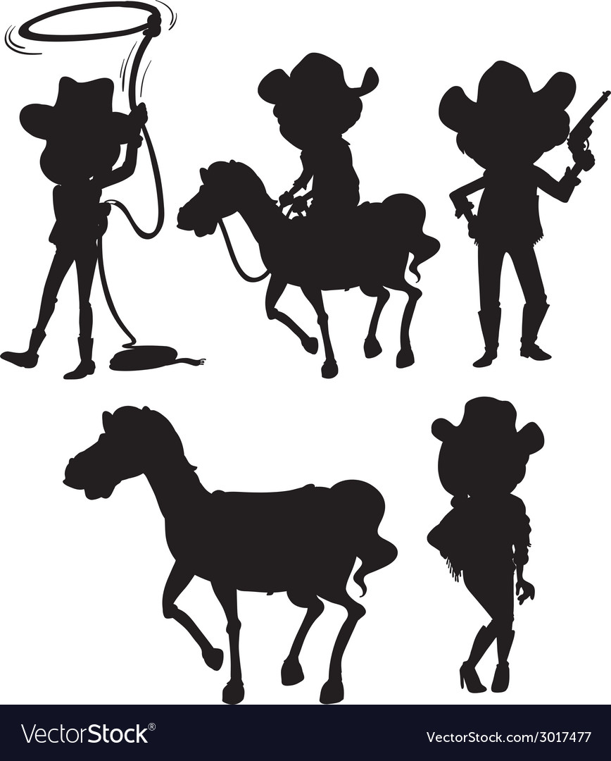 Black sketches of people from the wild west vector | Price: 1 Credit (USD $1)