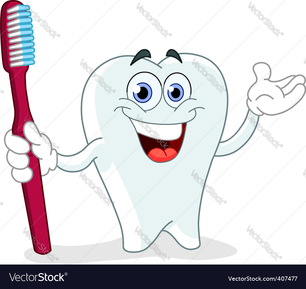 Cartoon tooth with toothbrush vector | Price: 1 Credit (USD $1)