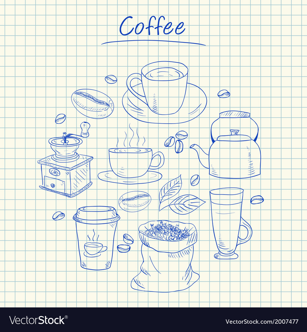 Coffee doodles squared paper vector | Price: 1 Credit (USD $1)
