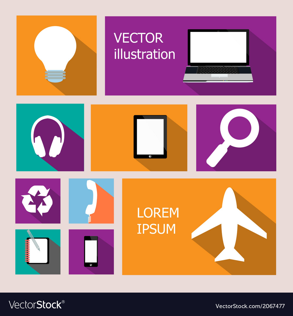 Collection of business and office icons with long vector | Price: 1 Credit (USD $1)
