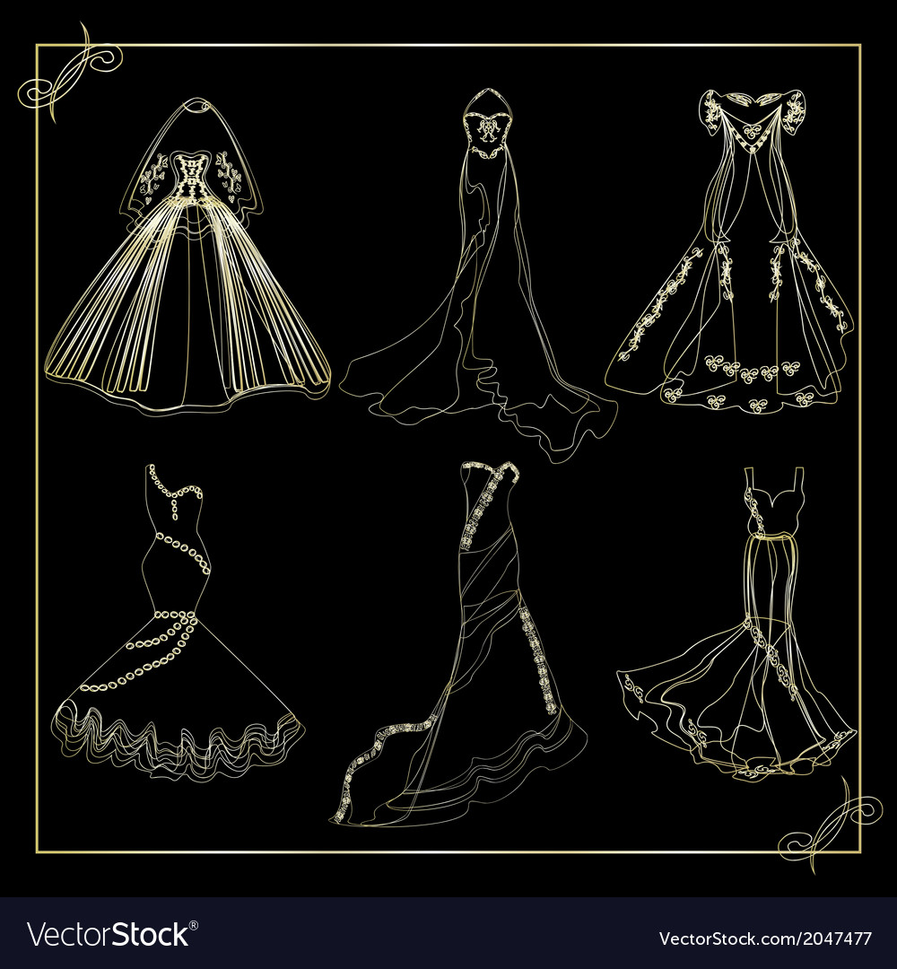 Dresses outline collection of wedding vector | Price: 1 Credit (USD $1)