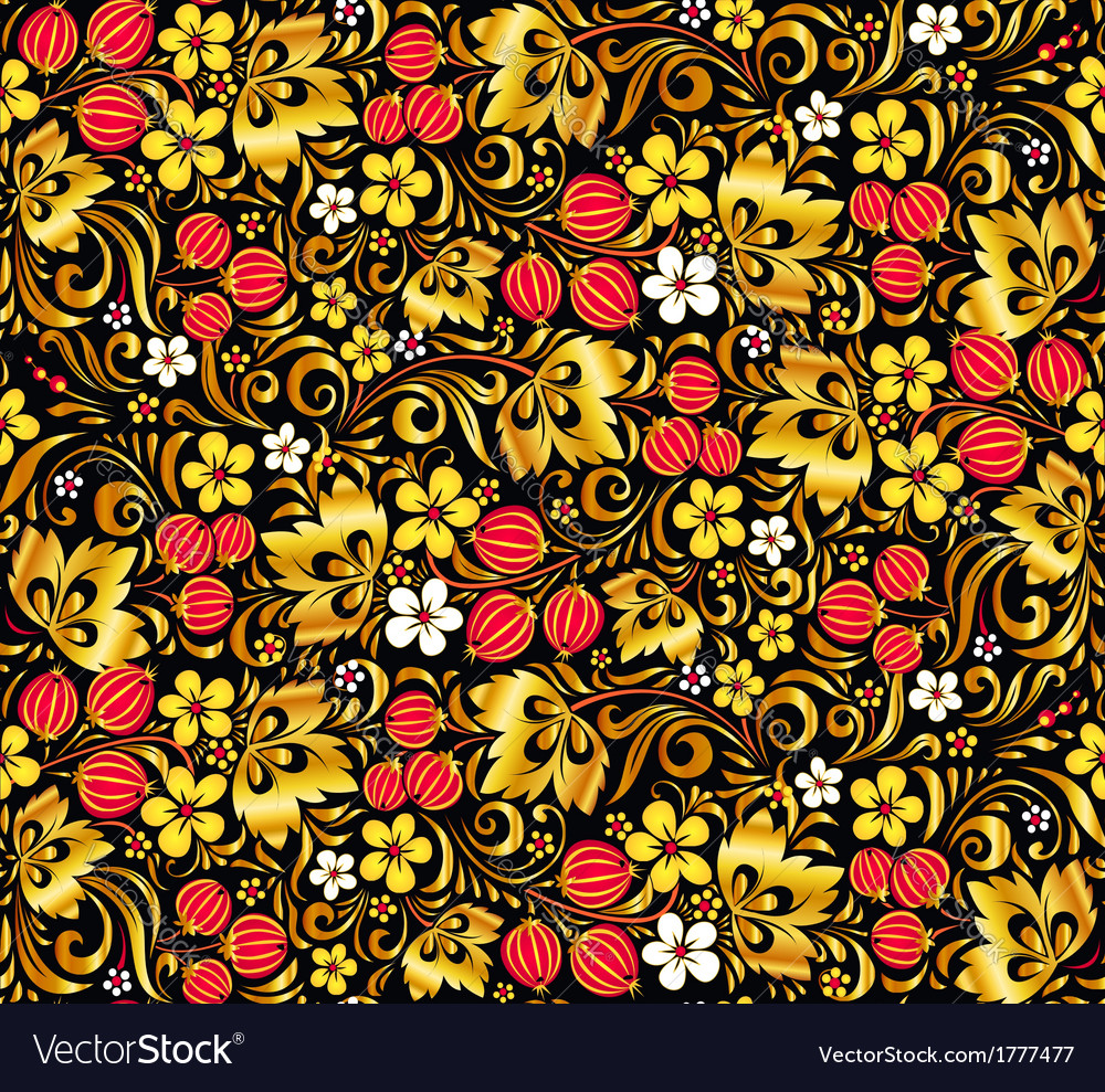 Gold and red colors seamless pattern vector | Price: 1 Credit (USD $1)