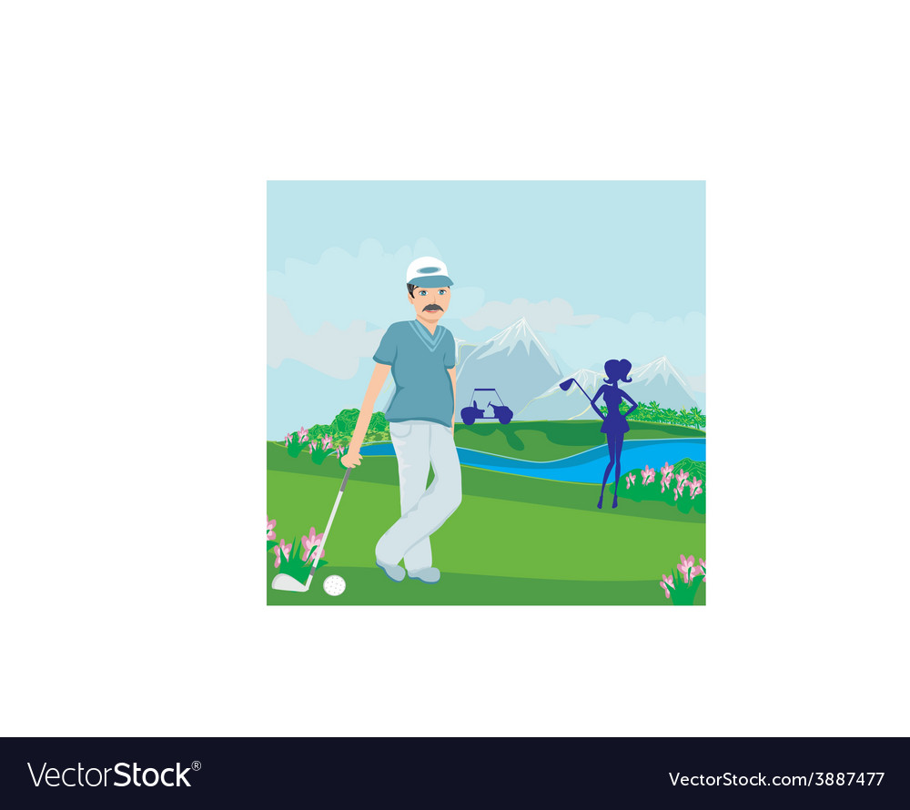 Golfers on a sunny day vector | Price: 1 Credit (USD $1)