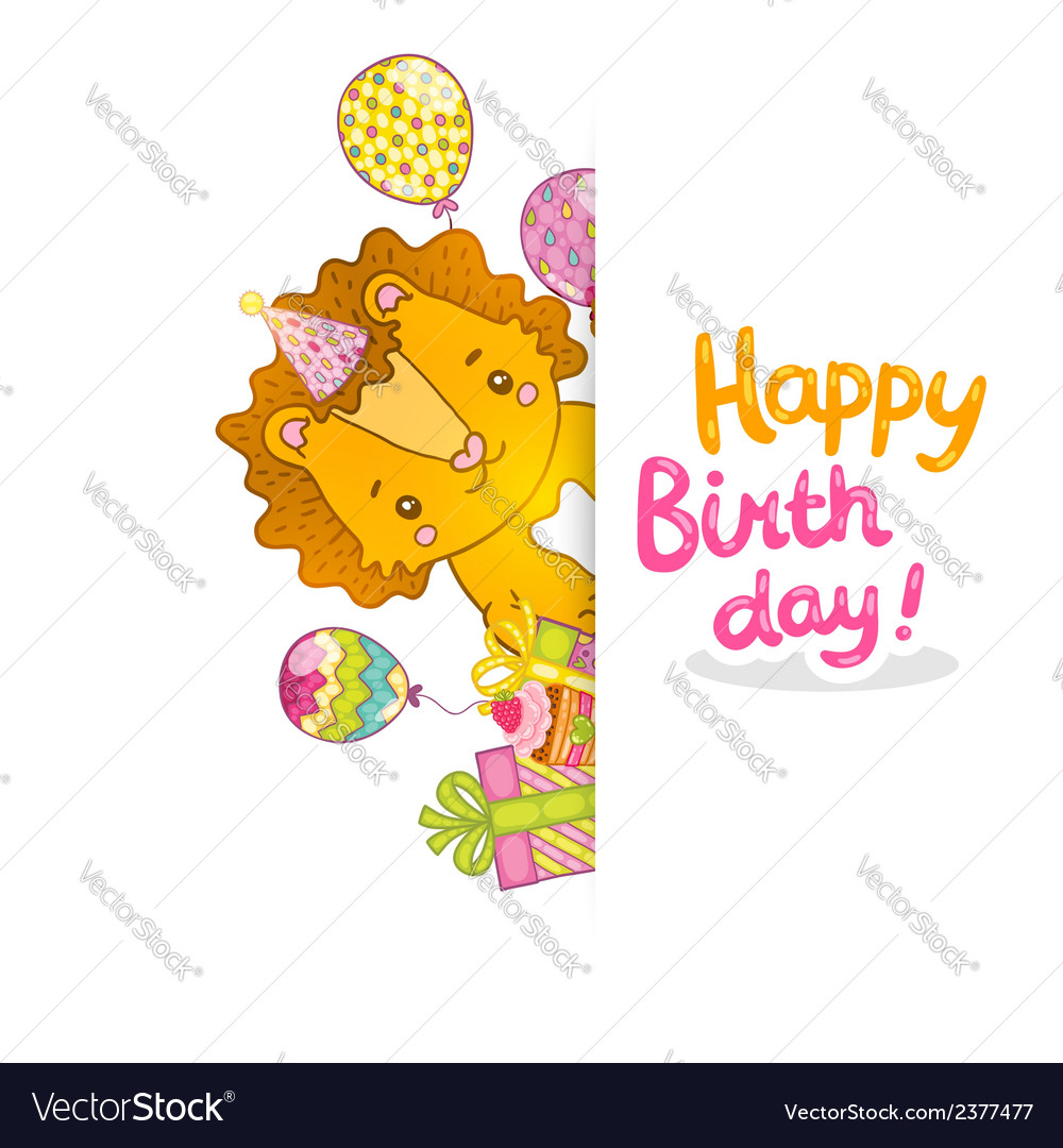 Happy birthday greeting background with a lion vector | Price: 1 Credit (USD $1)