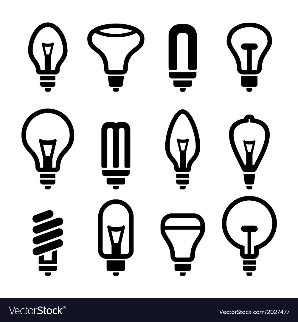 Light bulbs bulb icon set 2 vector | Price: 1 Credit (USD $1)