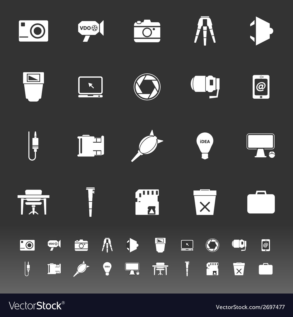 Photography related item icons on gray background vector | Price: 1 Credit (USD $1)