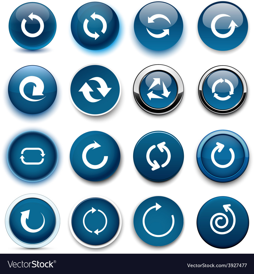 Round dark blue arrow icons vector | Price: 1 Credit (USD $1)