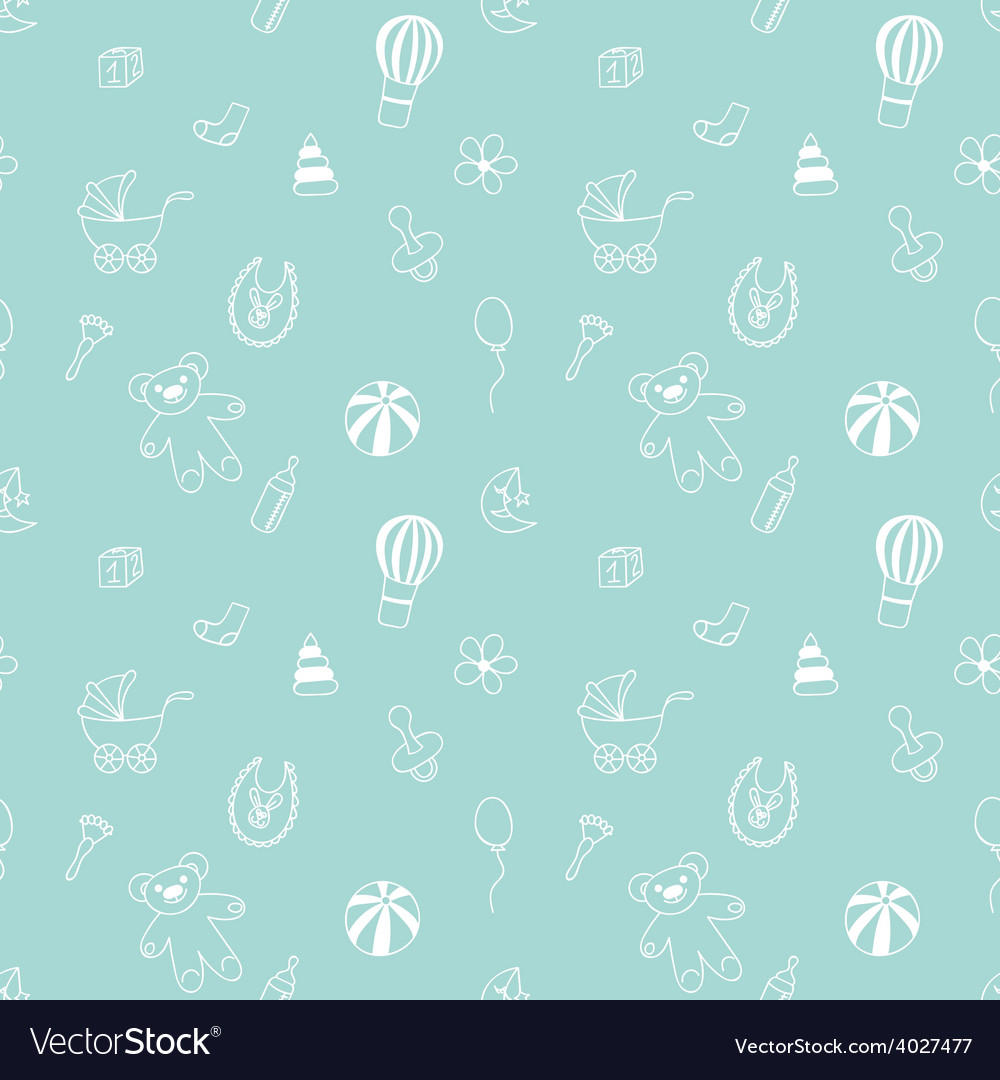 Seamless pattern with elements of childrens toys vector | Price: 1 Credit (USD $1)