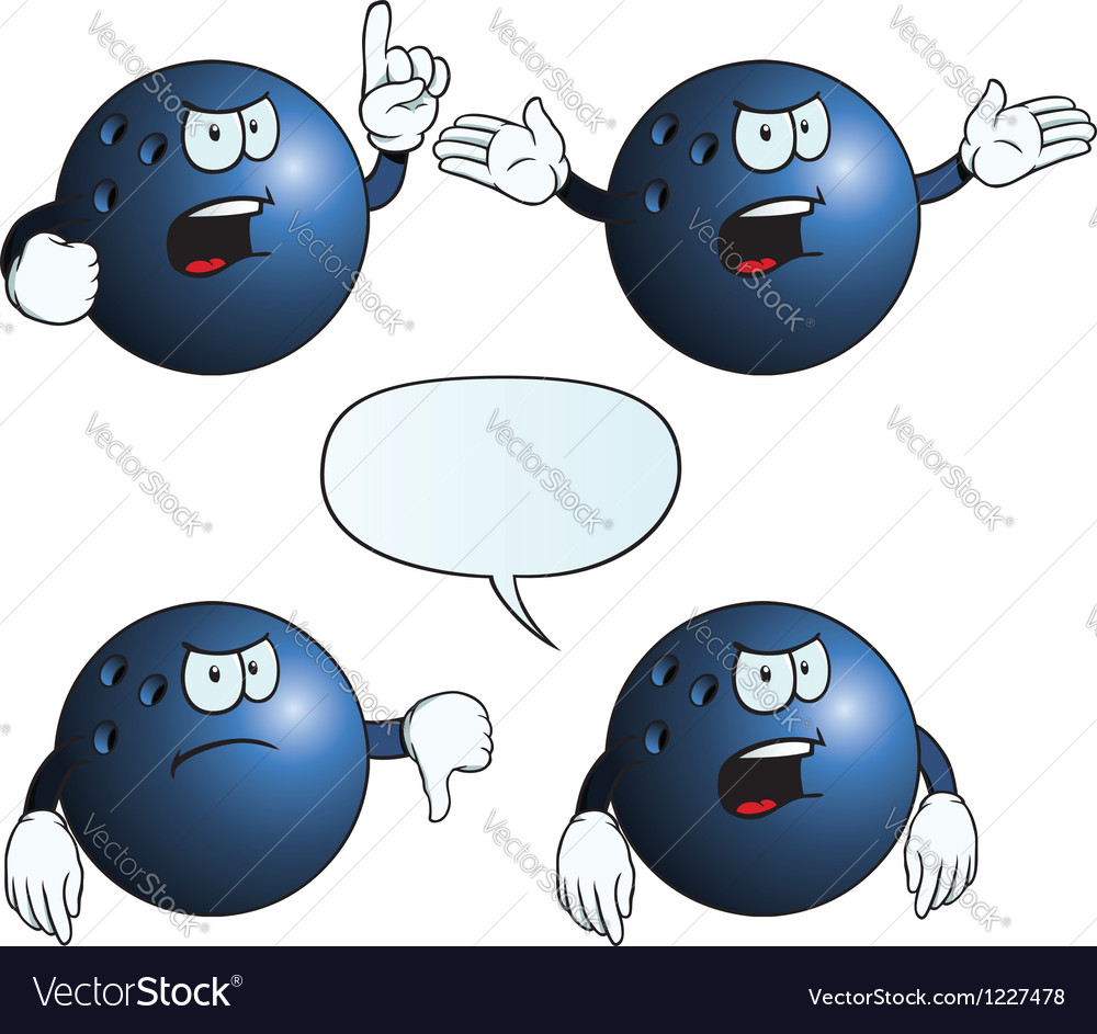Angry bowling ball set vector | Price: 1 Credit (USD $1)