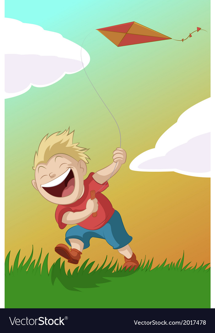 Boy with the kite vector | Price: 1 Credit (USD $1)