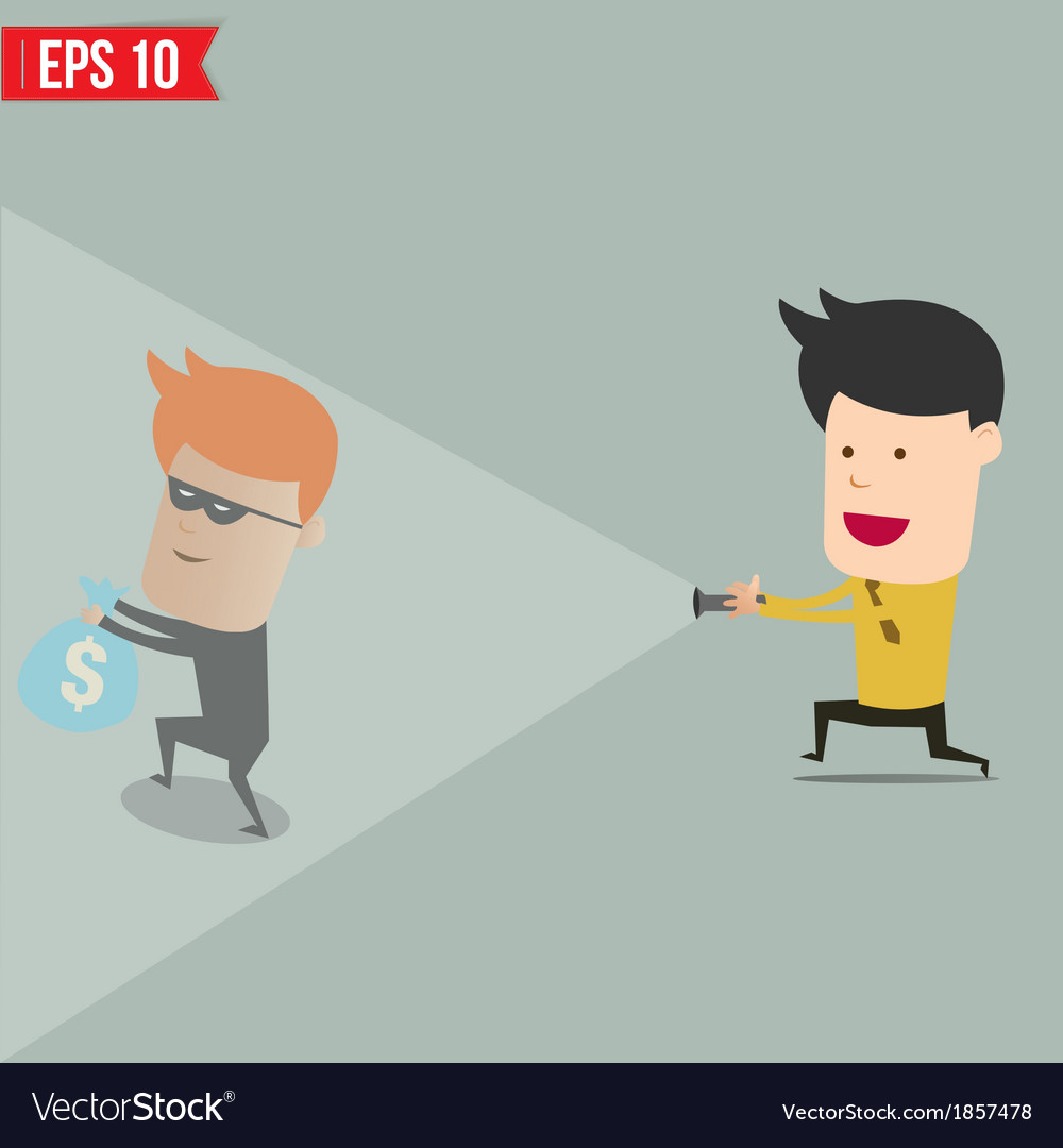 Businessman use flashlight find thief steal idea vector | Price: 1 Credit (USD $1)