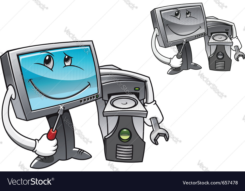 Computer with tools vector | Price: 1 Credit (USD $1)