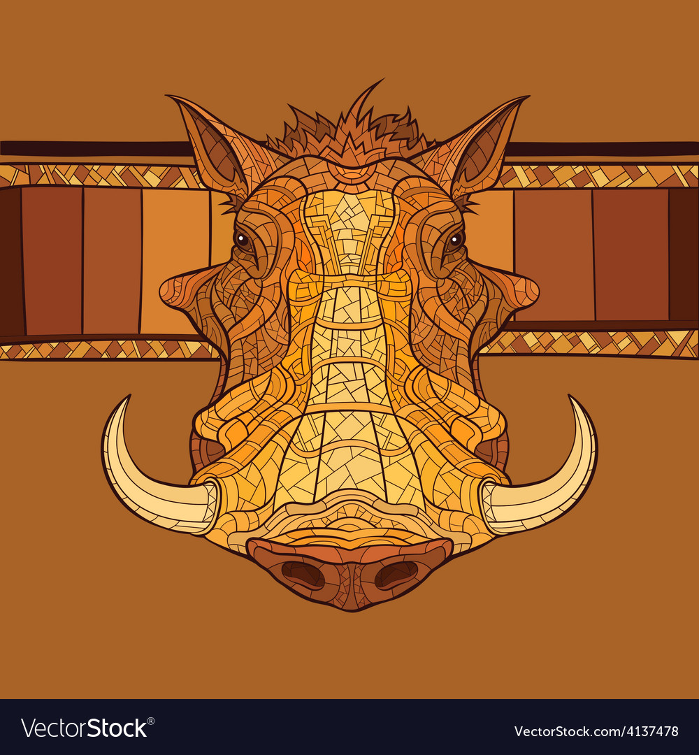 Decorative warthog head vector | Price: 1 Credit (USD $1)