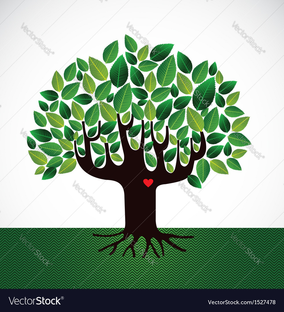 Go green tree love vector | Price: 1 Credit (USD $1)
