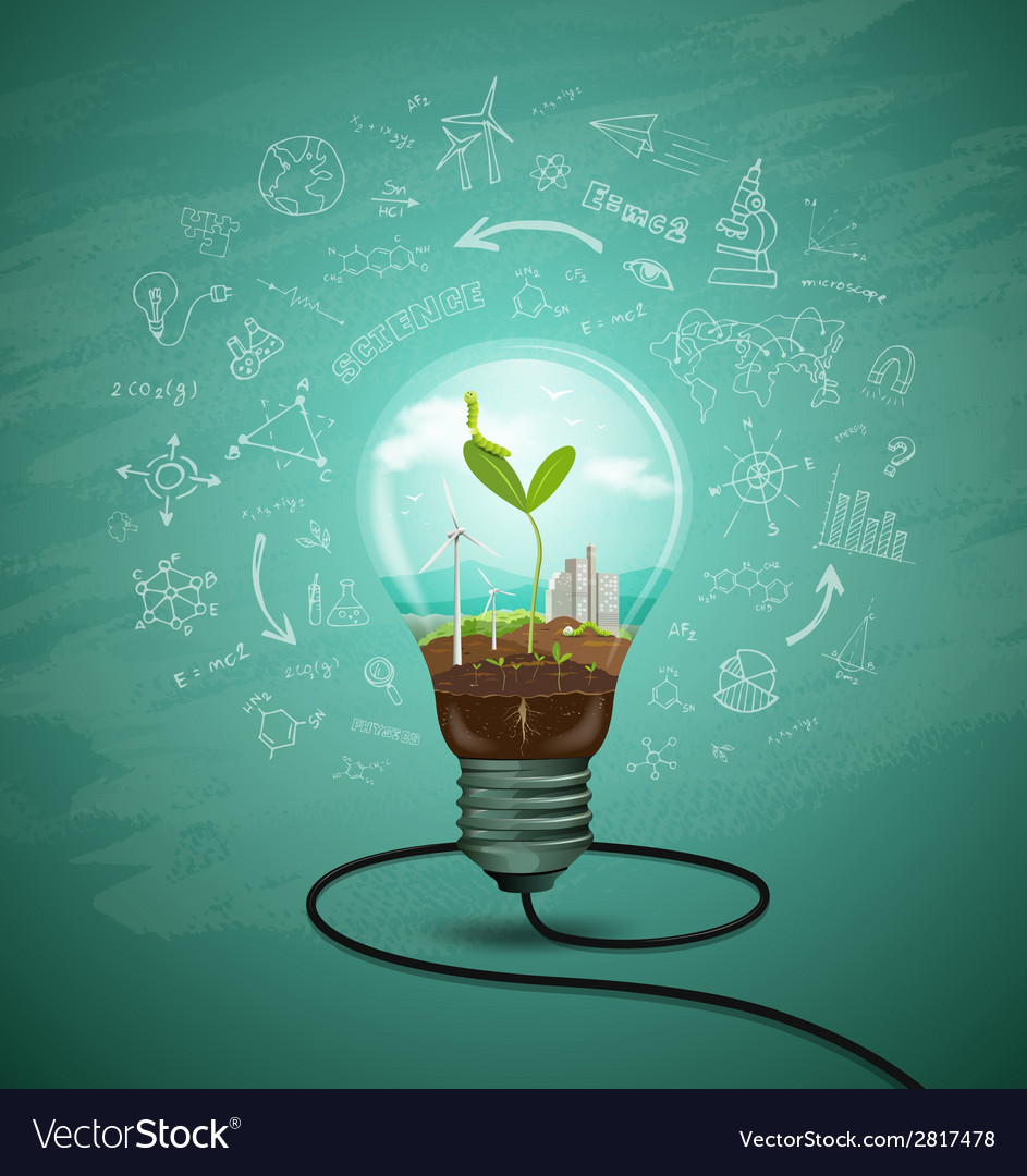 Green seedlings in a light bulb ecology vector | Price: 3 Credit (USD $3)