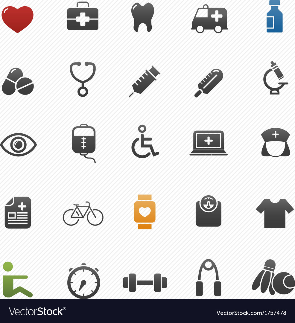 Healthy and medical symbol icon set vector | Price: 1 Credit (USD $1)