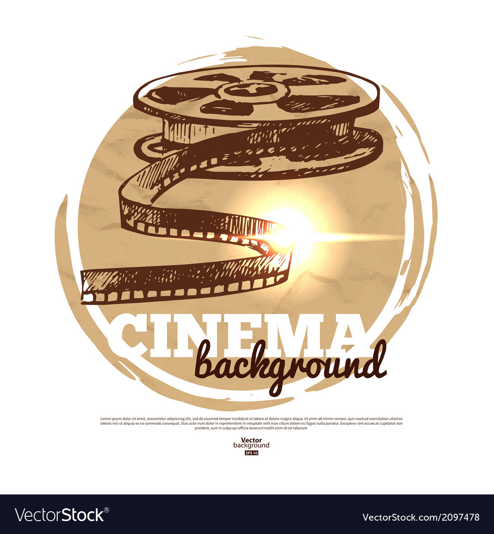 Vintage movie cinema banner with hand drawn sketch vector | Price: 1 Credit (USD $1)