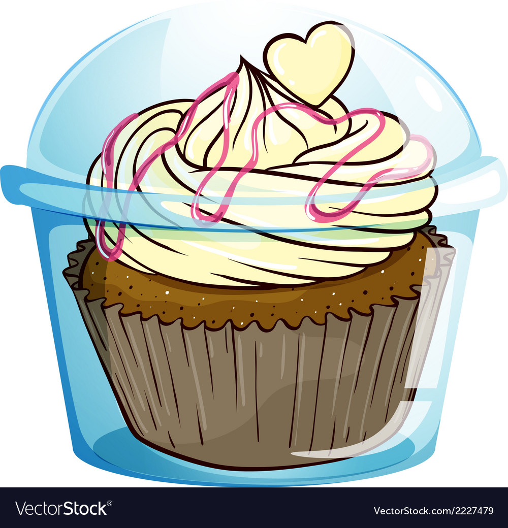 A cupcake inside the disposable container vector | Price: 1 Credit (USD $1)