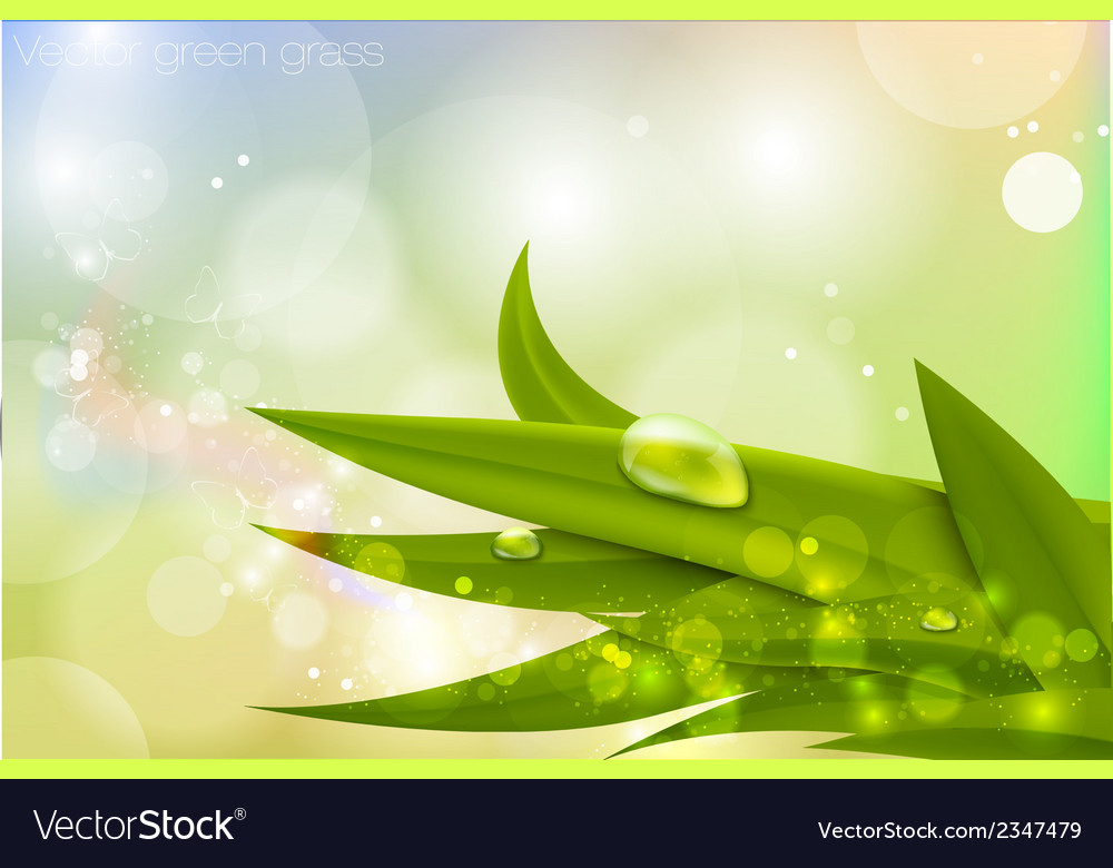 Background in pastel colors with green grass vector | Price: 1 Credit (USD $1)