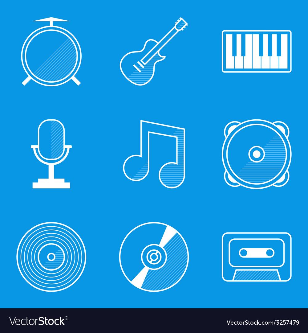 Blueprint icon set music vector   Price: 1 Credit (USD $1)