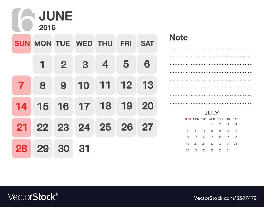 Calendar june 2015 vector | Price: 1 Credit (USD $1)