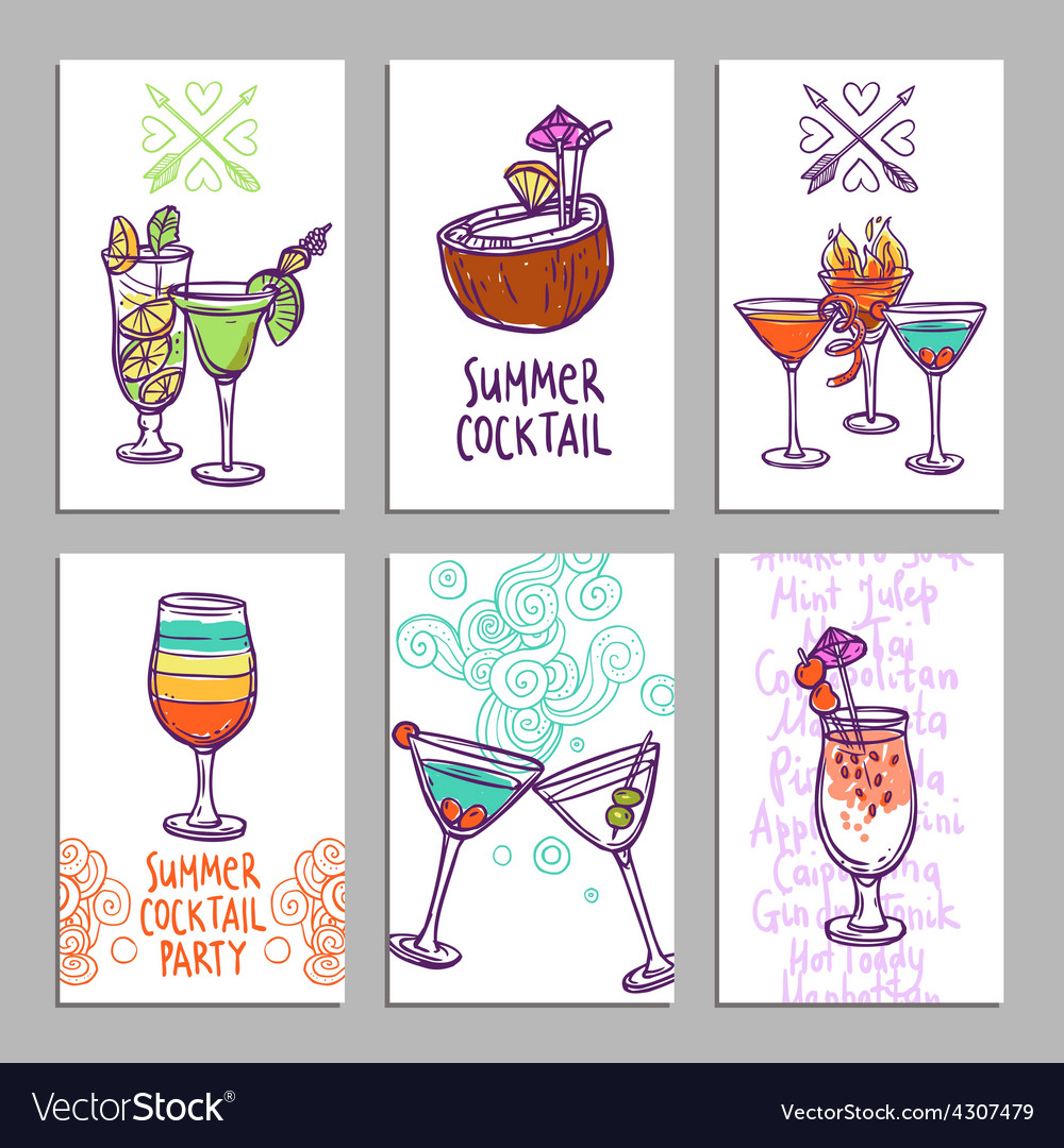 Cards with cocktails vector | Price: 1 Credit (USD $1)