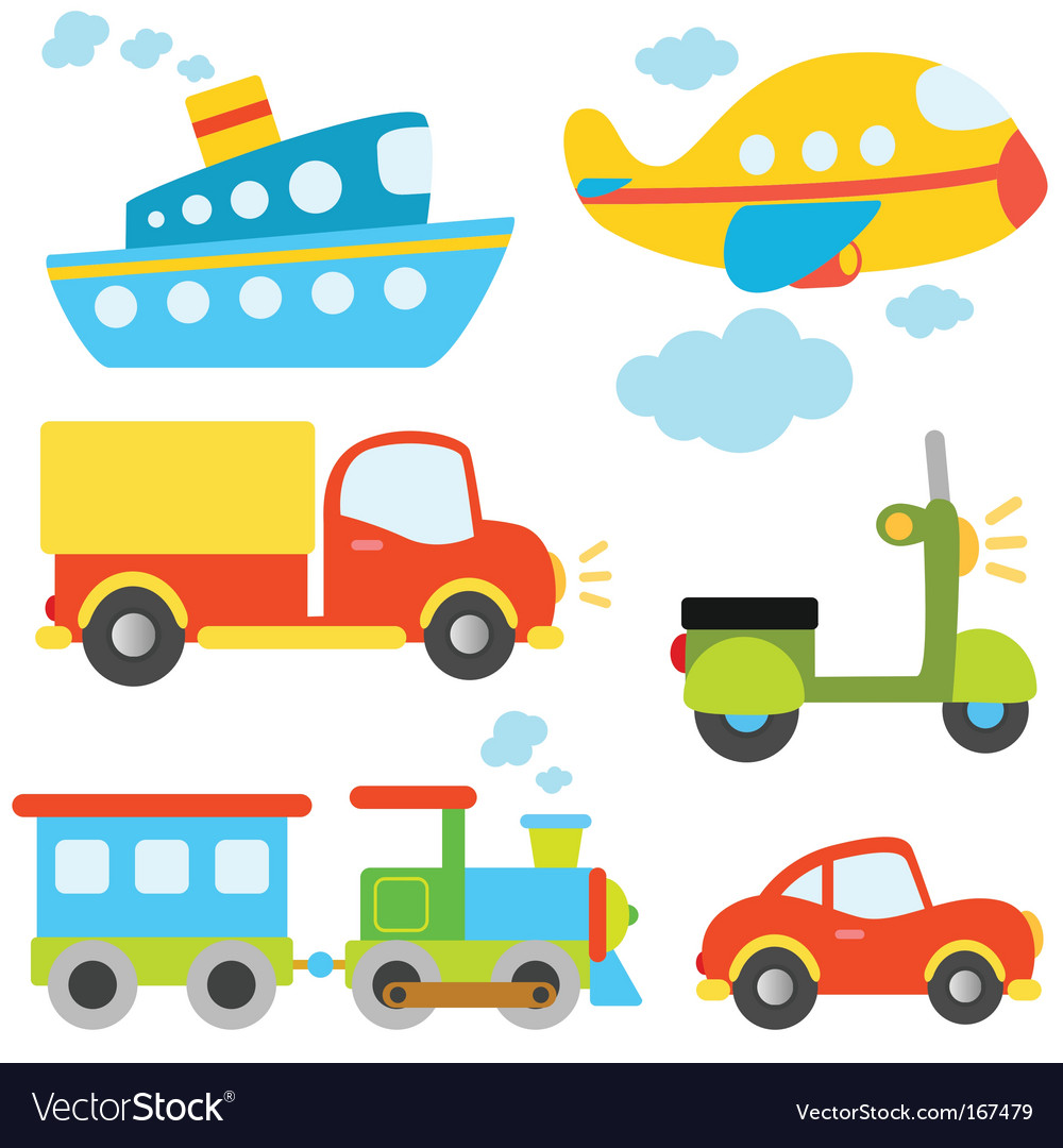 Cartoon vehicles set vector | Price: 1 Credit (USD $1)
