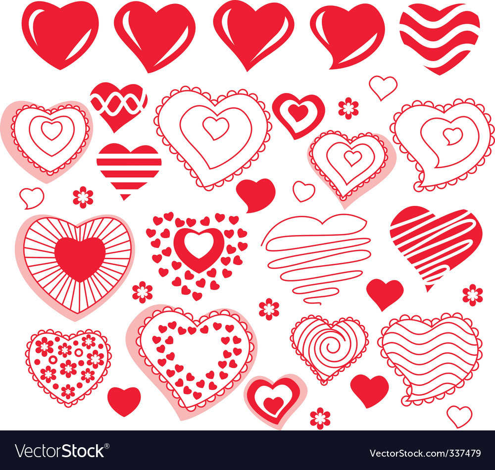 Collection of different heart shapes vector | Price: 1 Credit (USD $1)