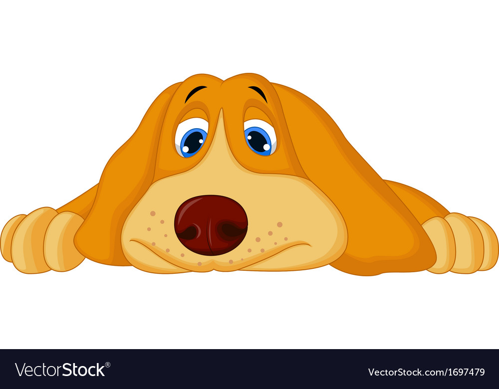 Cute cartoon dog lying down vector | Price: 1 Credit (USD $1)